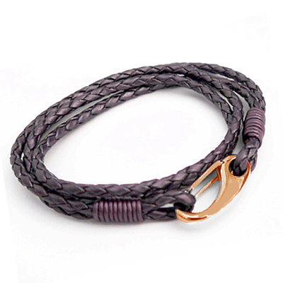 Multi Loop Purple Leather Bracelet with Rose Gold Clasp