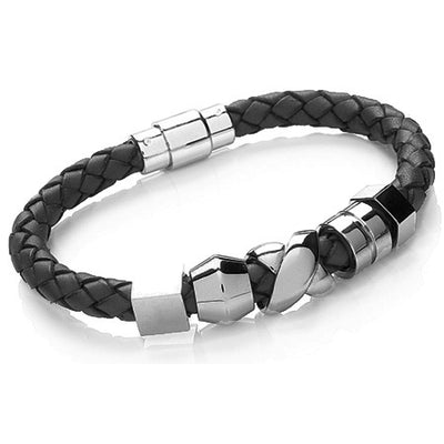 Black Leather Multi Bead Men's Bracelet