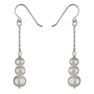 Triple Fresh Water Pearl Drop Earrings