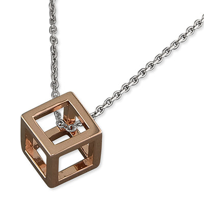 Open Cube Rose Gold Vermeil Necklace