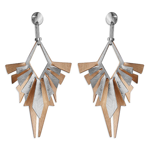 Sterling Silver & Rose Gold Vermeil Geometric Drop Style Earring