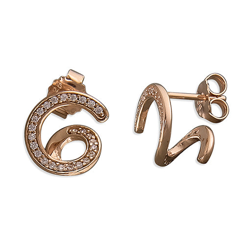 Spiral Stone Set Rose Gold Vermeil Earrings