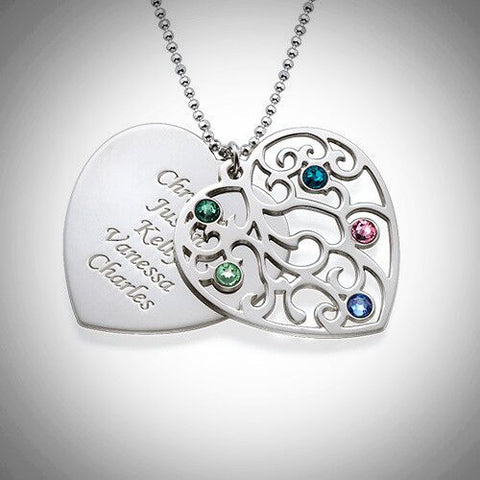 Silver Heart Filigree Family Tree Birthstone Necklace
