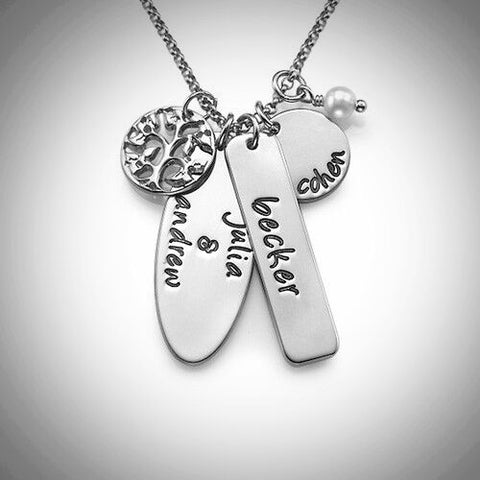 Silver Family Tree Multi Tag Necklace