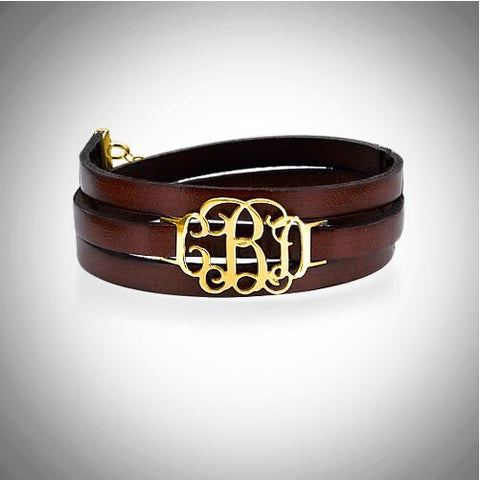 Monogram Leather Bracelet - Gold Plated