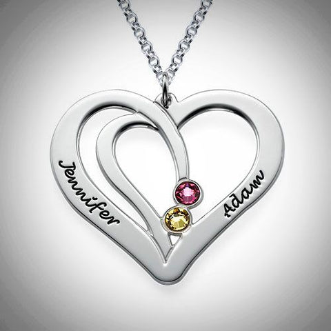 Silver Engraved Couples Birthstone Necklace