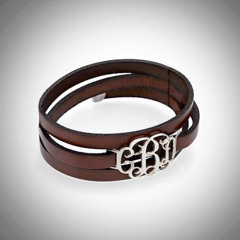 Silver Monogram Leather Bracelet