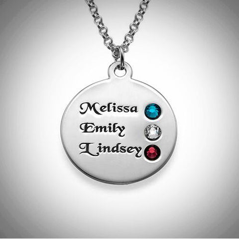 Silver Family Birthstone Necklace