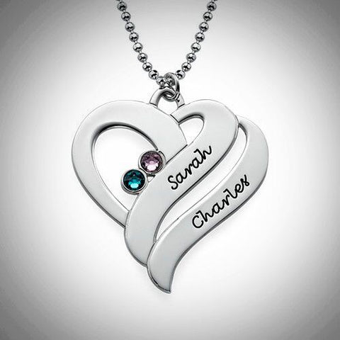 Two Hearts Forever Birthstone Necklace