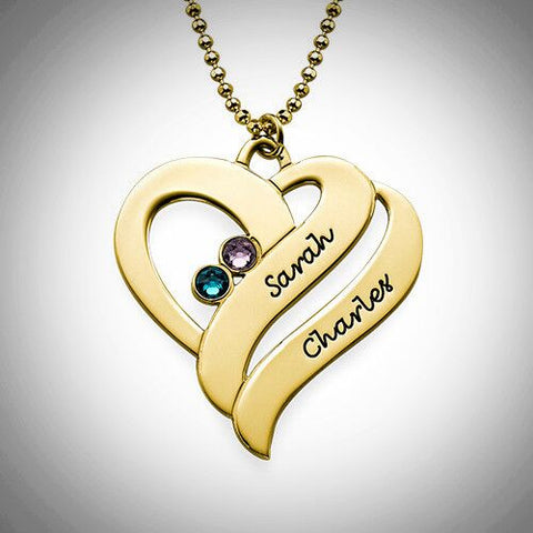 Two Hearts Forever Birthstone Necklace - Gold Plated