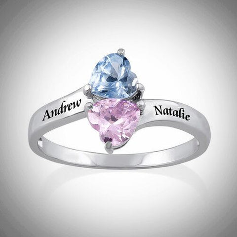 Silver Personalised Birthstone Ring