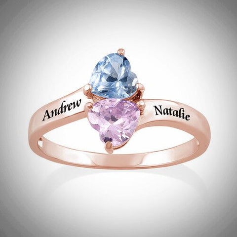 Personalised Birthstone Ring - Rose Gold Plated