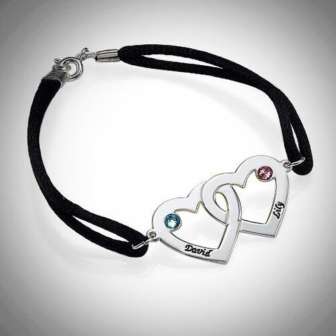 Couples Heart Charm Bracelet with Birthstones