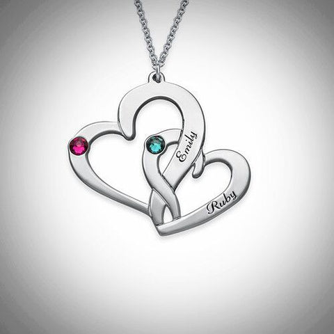 Personalised Engraved Two Heart Necklace
