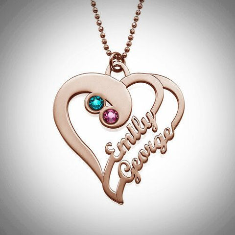 Two Hearts Forever One Pendant Necklace - Rose Gold Plated