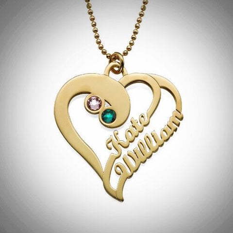 Two Hearts Forever One Pendant Necklace - Gold Plated