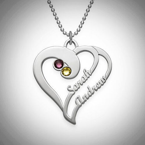Two Hearts Forever One Pendant Necklace - Silver