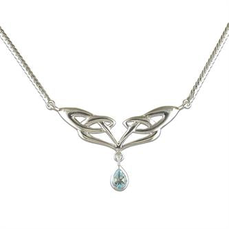 Celtic Infinity Design Necklace with Teardrop Blue Topaz Stone