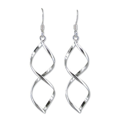 Sterling Silver Spiral Drop Earrings