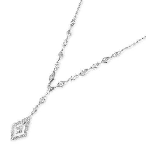 Sterling Silver Diamond Pattern CZ Set Necklace