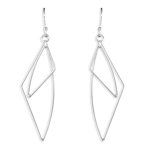 Sterling Silver Geometric Triangle Wire Earrings