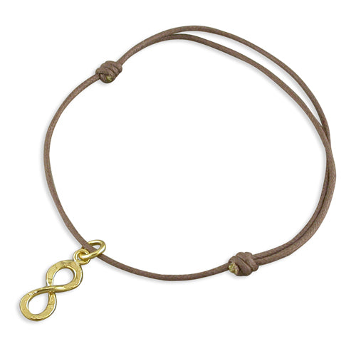 Yellow Gold Vermeil Infinity Charm Leather Bracelet