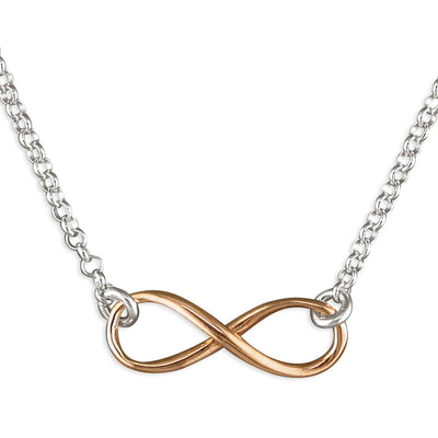 Two Tone Sterling Silver Infinity Style Necklace