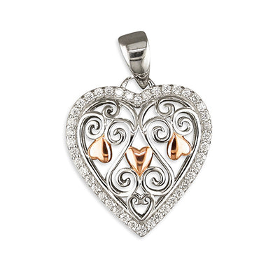Sterling Silver Two Tone CZ Set Heart Pendant