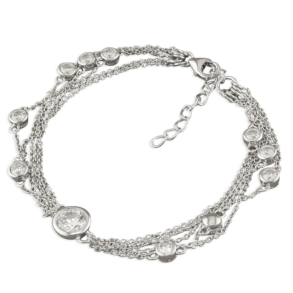 Multi Chain Sterling Silver Bracelet with Set CZ