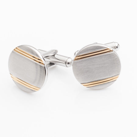 Stainless Steel Two Tone Circle Cufflinks