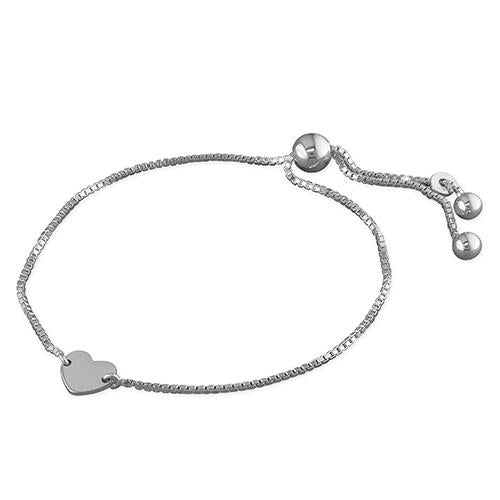 Personalised, Solid Silver Heart Bracelet