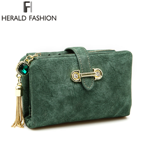 Herald Fashion Nubuck Leather Women Wallets - KrishQ