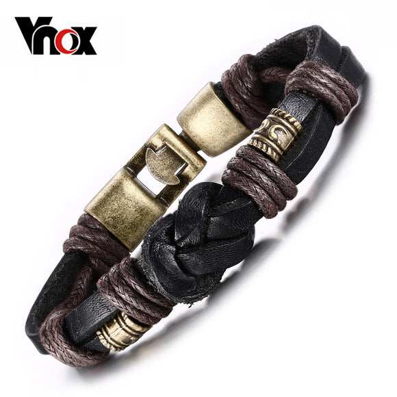 Vnox Vintage Leather Bracelet  Bronze alloy Buckle Classical Style  Easy Hook For Men - KrishQ