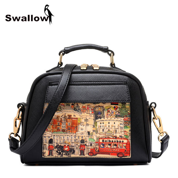 Oil Picture Pattern Women Bag Fashion PU Leather Women Leather Handbag Casual Women Shoulder Bag Fashion Female High Quality - KrishQ