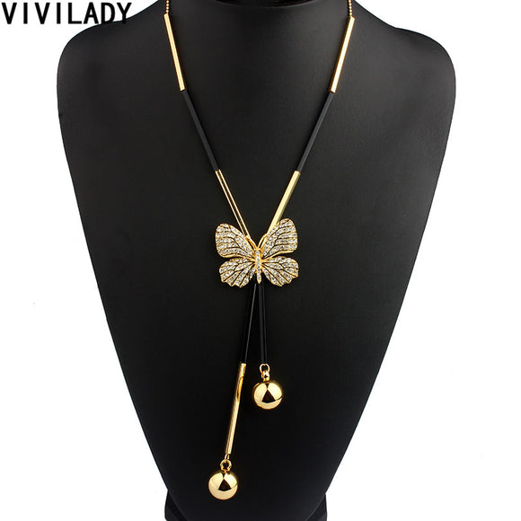VIVILADY Elegant Butterfly Long Beaded Chain Tassel Necklace - KrishQ