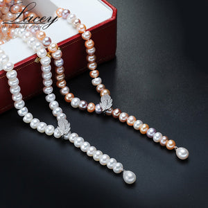 100% Genuine Fashion Pearl Necklace Natural Freshwater Pearl - KrishQ