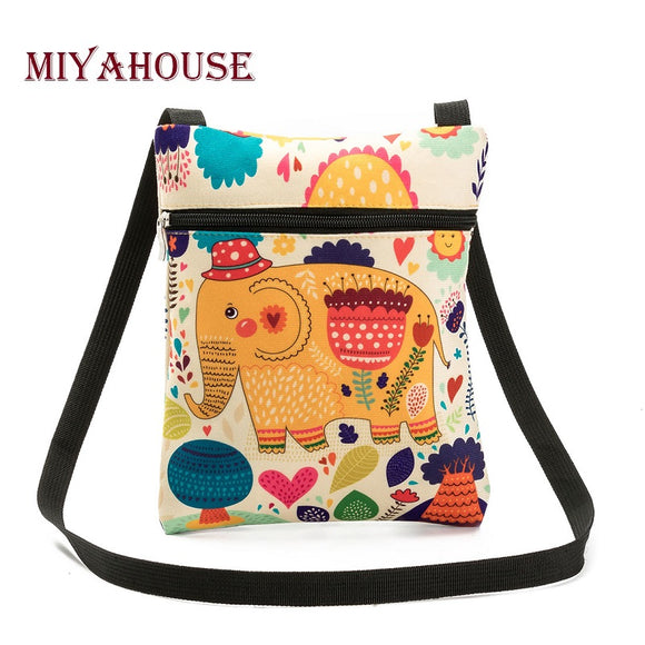 Miyahouse Casual Cartoon Elephant Printed Messenger Bag - KrishQ