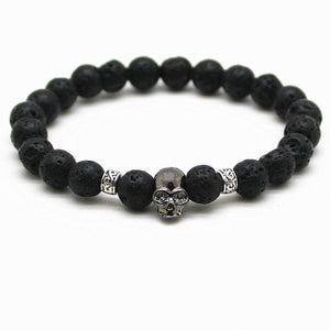 Black Beads Natural Stones Skull Bracelet For Women Lava Stone Beads Men Bracelet Black Lava Beads Bracelets Pulseras Mujer - KrishQ