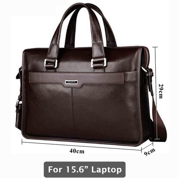 Genuine leather briefcase, laptop leather bag, for 15 inch notebook computer, 15.6 inch laptop bag - KrishQ