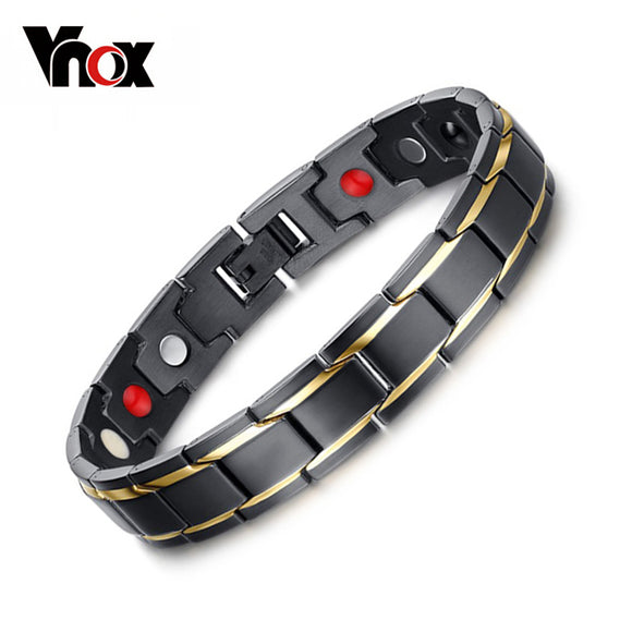 Vnox Black Men's Health Bracelets & Bangles Magnetic H Power Stainless Steel Charm Bracelet Jewellery for Man - KrishQ