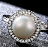 Classic Round Disk 925 Sterling Silver One Big 9-9.5mm Freshwater Natural Pearl Ring - KrishQ