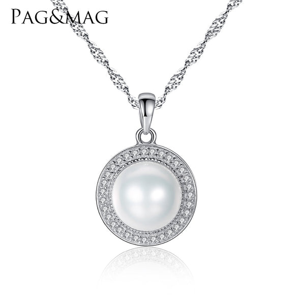 Classic Round 925 Sterling Silver Pendant Necklace with 9-9.5mm Pearls - KrishQ