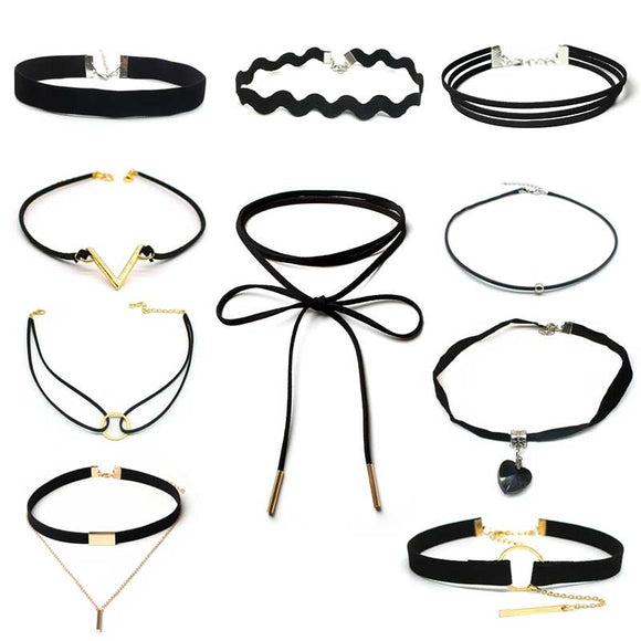 ZOEBER 10 PCS/Set New Gothic Tattoo Leather Choker Necklaces Set for Women - KrishQ