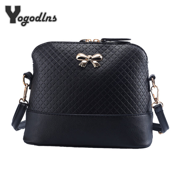 New Vintage PU Leather for Women Bags Fashion Small Shell Bag With Bowknot - KrishQ