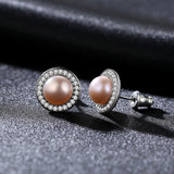 Classic Round Freshwater High Bright 7-7.5mm Natural Pearl Stud Earrings for Women - KrishQ