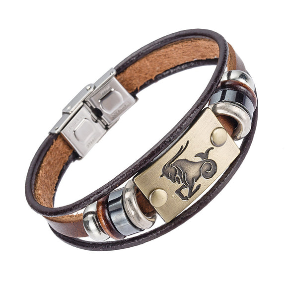 Hot Selling Europe Fashion 12 zodiac signs Bracelet With Stainless Steel Clasp Leather Bracelet for Men - KrishQ