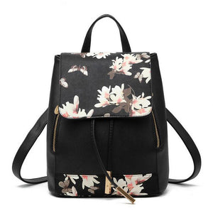 Herald Fashion Preppy Style School Backpack Artificial Leather Women Shoulder Bag Floral School Bag for Teens Girls - KrishQ