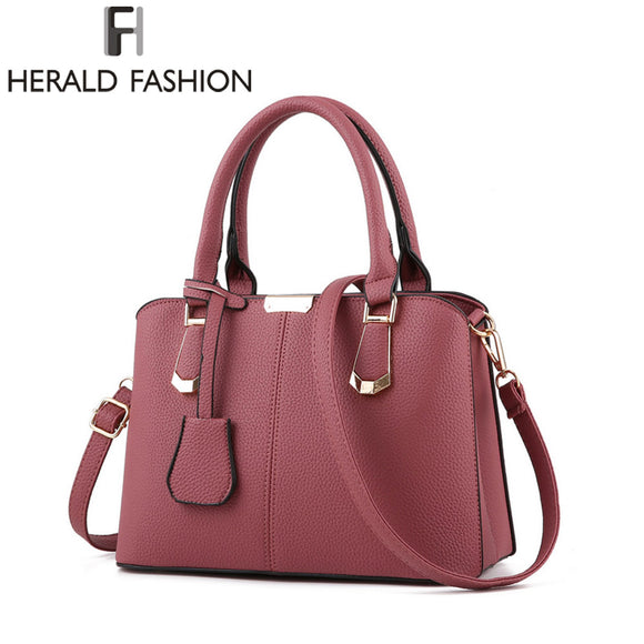 PU Leather Top-handle Women Handbag Shoulder Bag Casual Large Capacity Tote Cross-body Bags - KrishQ