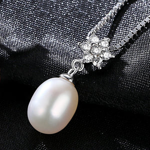 Tear Drop Genuine Pearl Necklace Vintage 925 Silver White and Pink Purple Freshwater Pearl - KrishQ