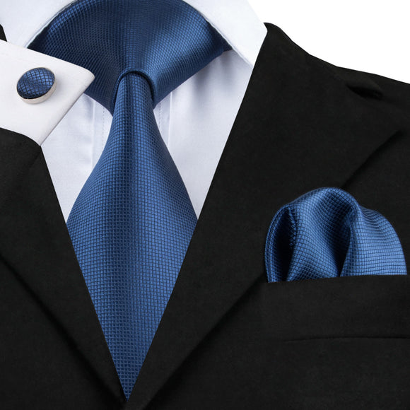 Blue Tie Hanky Cufflinks Set Men's 100% Silk Jacquard Solid Necktie - KrishQ